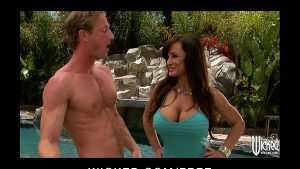 Image Big-boobed brunette MILF Lisan Ann fucks young cock by the pool