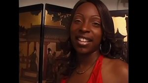 Image Ebony floozie Skyy with a gorgeous smile loves getting banged by a black man